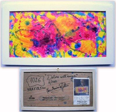 """QUADRO D'AUTORE RECENSITO N.A.1026 """" DOLORE NELL'ANIMA """"  Misure 38,2x18,5 cm Quadro originale dipinto ad olio su rilievi al quarzo su tavola  con AUTENTICA a tergo - Archiviato - medippolito !"""