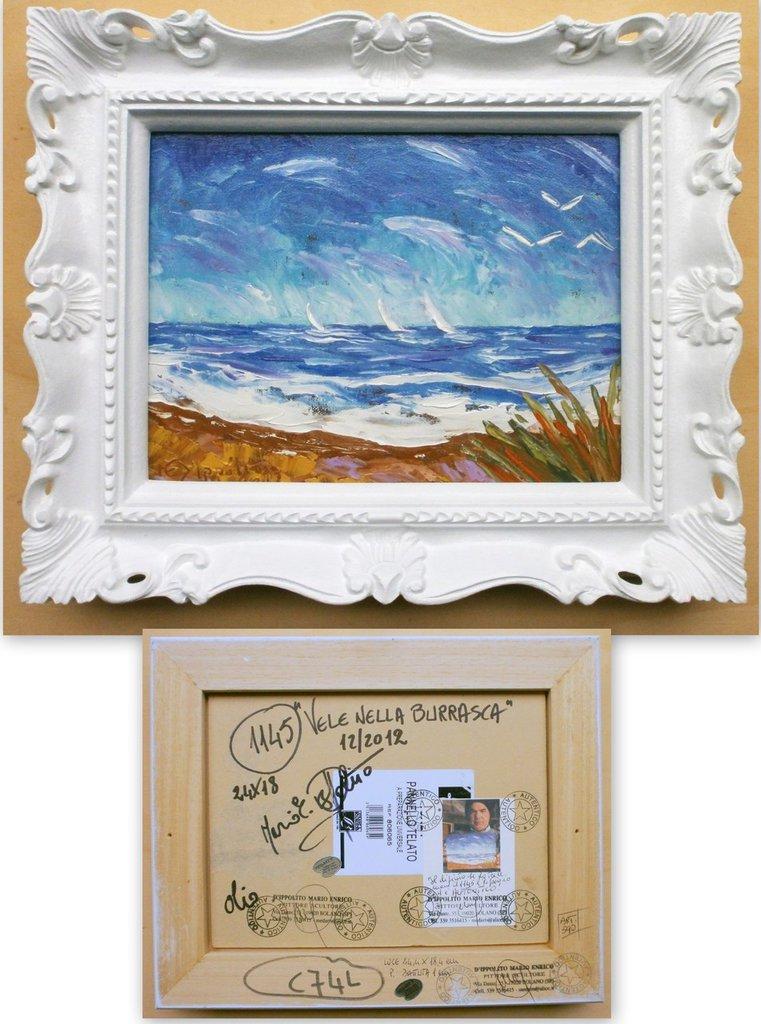 """QUADRI QUADRO D'AUTORE """" VELE NELLA BURRASCA """" Quadro originale dipinto ad olio a spatola su pannello telato N.A.1145 con AUTENTICA a tergo !"""