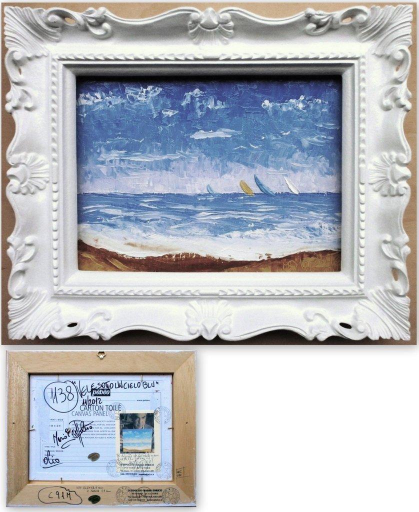 """QUADRO D'AUTORE RECENSITO N.A.1138 """" VELE SOTTO UN CIELO BLU """" Quadro originale dipinto ad olio a spatola su pannello telato con AUTENTICA a tergo - medippolito !"""