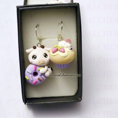 Orecchini Kawaii FIMO Alchemian mucca pasticcino cupcake sweet lolita cute loli