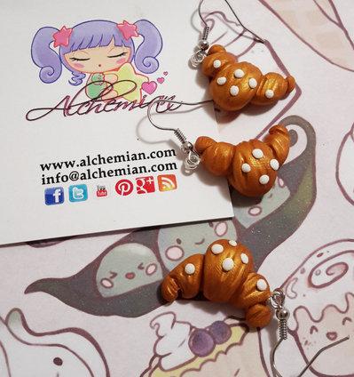 Orecchini Kawaii FIMO Alchemian cornetto croissant lolita natale sweet colazione