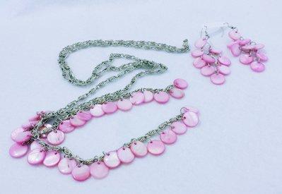 Chicche di Madreperla Rosa/Fuxia - parure (collana + orecchini)