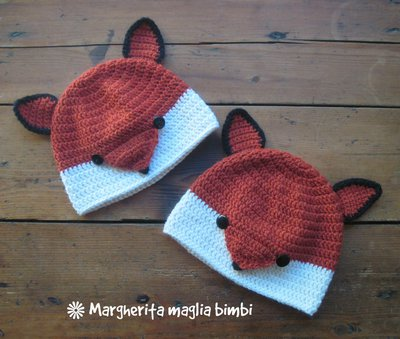 Cappello volpina, cuffia, berretto volpe - bambino - pura lana e alpaca - fatto a mano - uncinetto