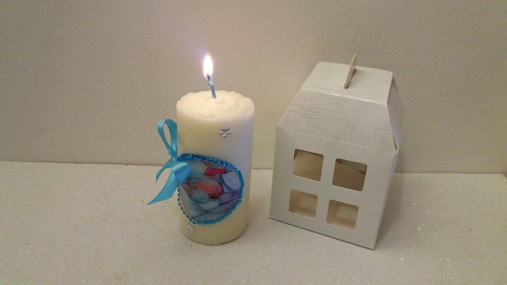 Bomboniera candela personalizzata battesimo