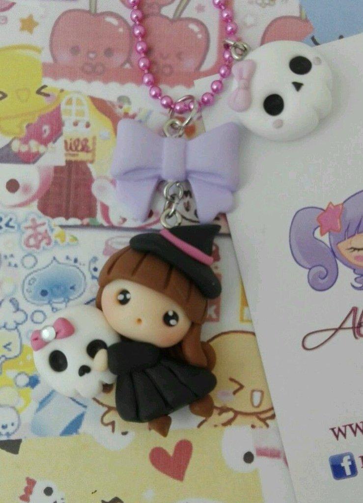 Collana Kawaii FIMO fate lolita, fatina con teschietto e fiocco kawaii