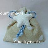 sacchetto bomboniera con gessetto a forma di stella marina