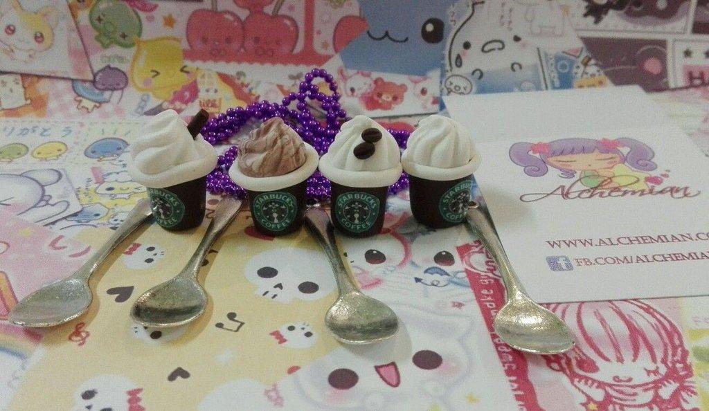 Collana cucchiaino Starbucks, coffee caffè,panna kawaii in fimo