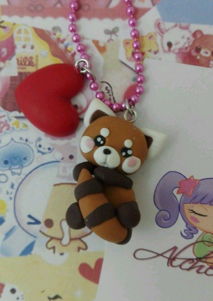 Collana Kawaii FIMO inverno bosco vegan natura red panda rosso alchemian lolita