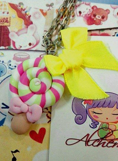Collana Kawaii FIMO lecca lecca lollypop fiocco giallo caramella sweet olita