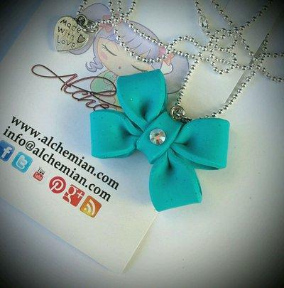 Collana fiocco bow lolita azzurro in FIMO pastel goth Alchemian Lolita