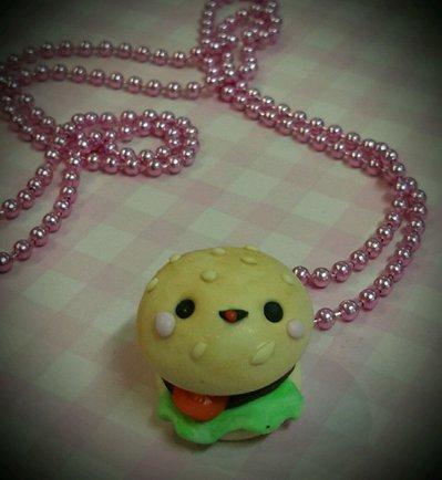 Collana hamburger kawaii con faccina Alchemian Lolita Food gnam cute Sweet