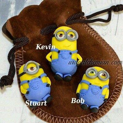 3 Pupazzetti Kawaii FIMO minion Minions Kevin Stuart Bob Alchemian fatto a mano