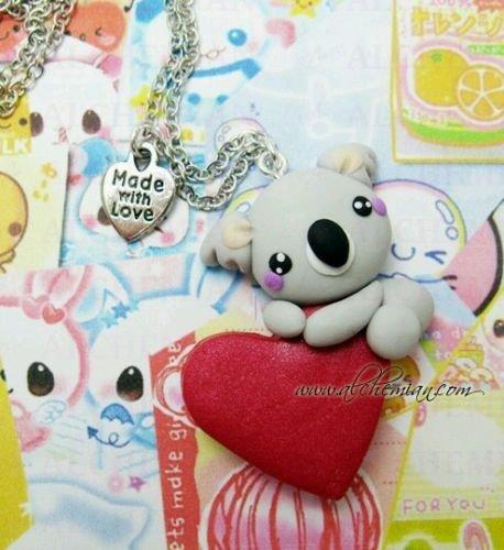 Collana Alchemian koala su cuore Lolita kawaii cute cuore love handmade