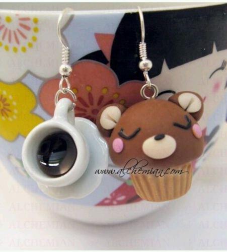 Orecchini Kawaii FIMO Alchemian tazzina e pasticcino orsetto dolcetti cute loli