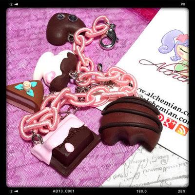 Bracciale anallergico dolcetti fimo rosa pastello kawaii colazione merenda loli