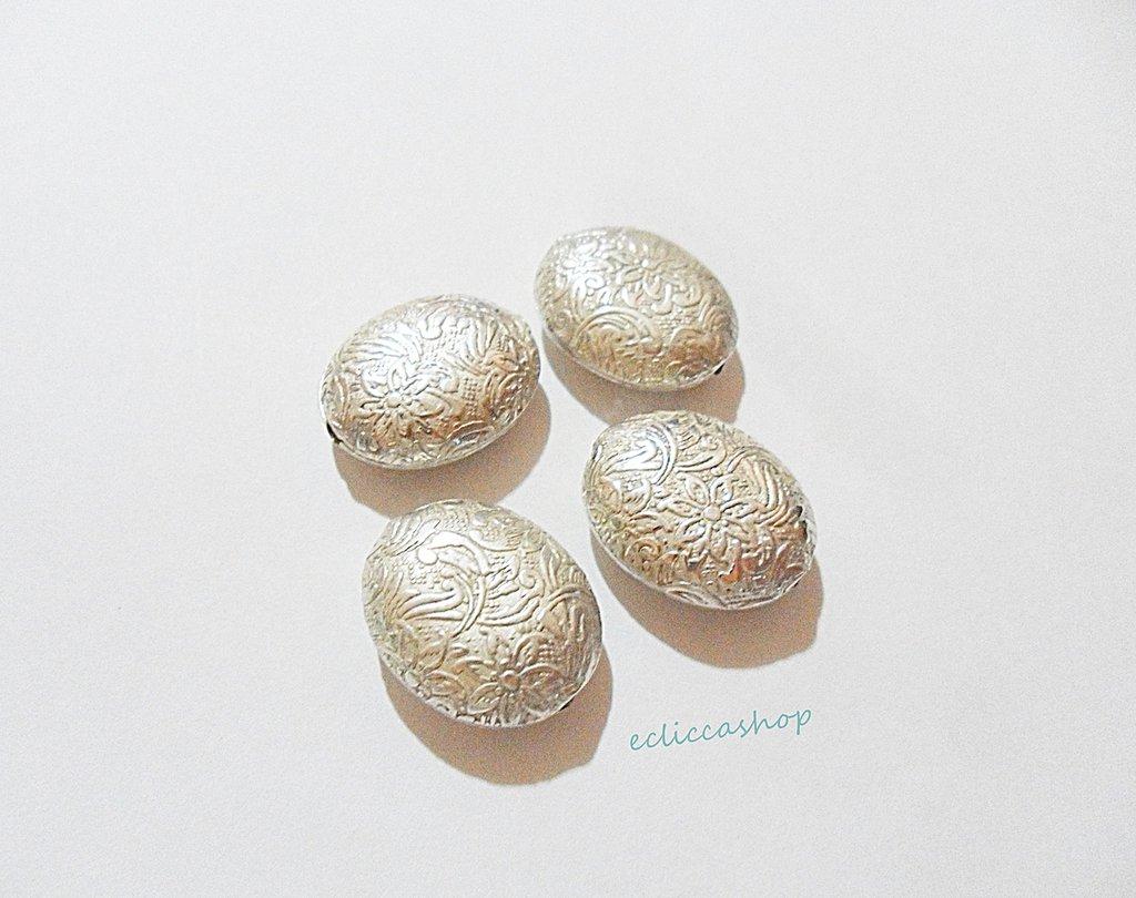 Perlina Distanziatore ovale bombato  in argento indiano 20 x 17 mm 1 Pz