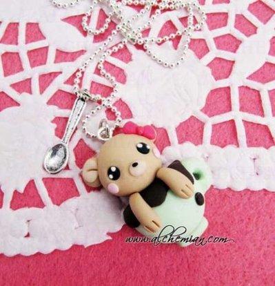 Collana orsett cioccolato tazza fimo kawaii lolita animaletti animali orso sweet