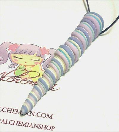 Collana Kawaii FIMO corno unicorno magia wicca lolita gothic pastel fortuna cute