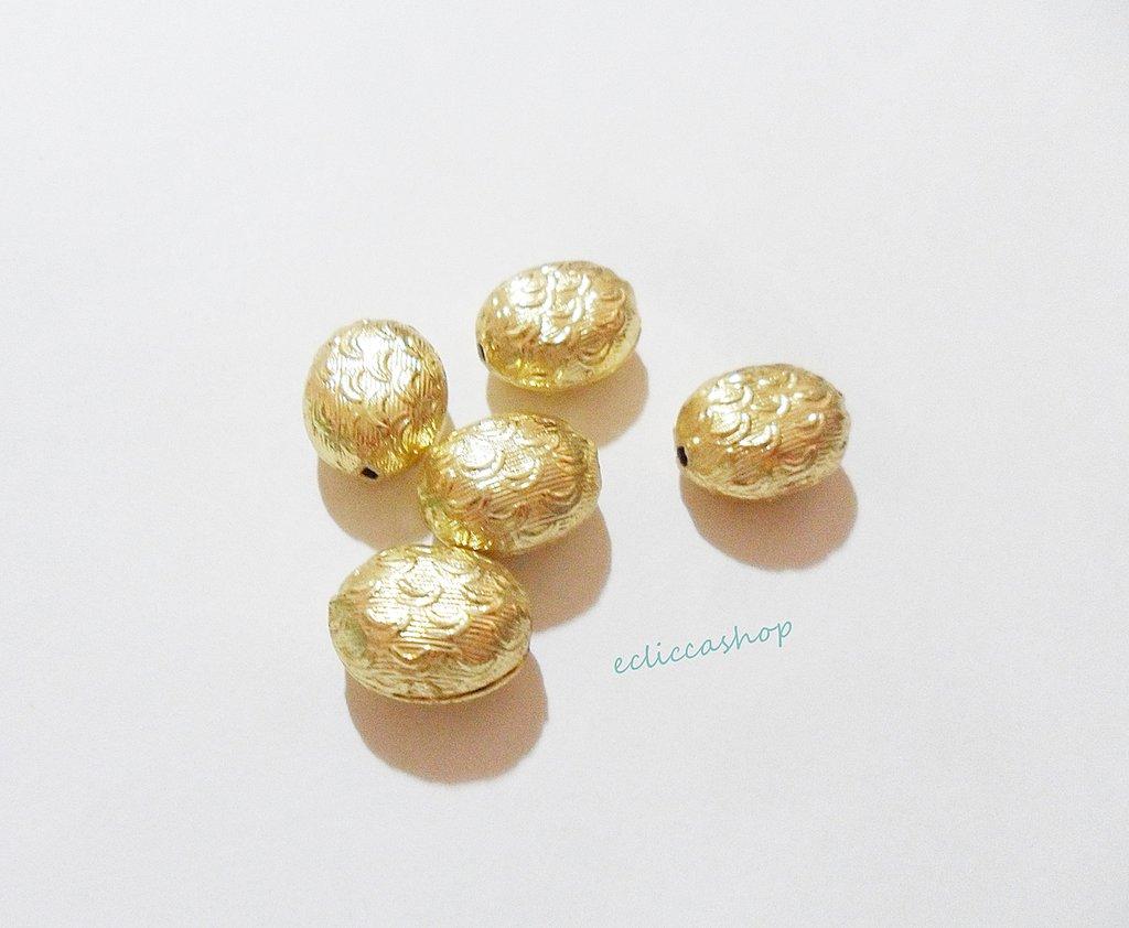 Perlina Distanziatore ovale bombato  in argento indiano 16 x 13 mm 1 Pz
