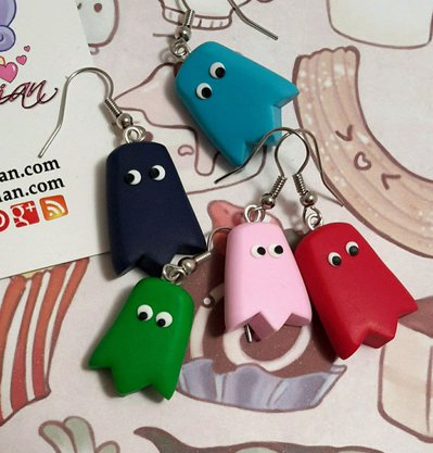 Orecchini Kawaii FIMO Alchemian video games Pac man nerds nerd