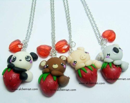 1 Collana Alchemian orsetto, orso, maialino o koala Lolita cute fragola panda