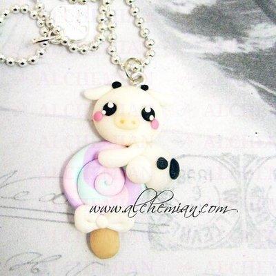 Collana mucca lecca lecca Alchemian Lolita kawaii so cute Sweet lolita FIMO gnam