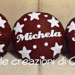 Cuscino in pannolenci cioccolato con stelle fatto a mano.