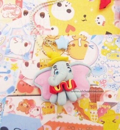 Collana dumbo elefantino fimo kawaii lolita animaletti animali elefante sweet