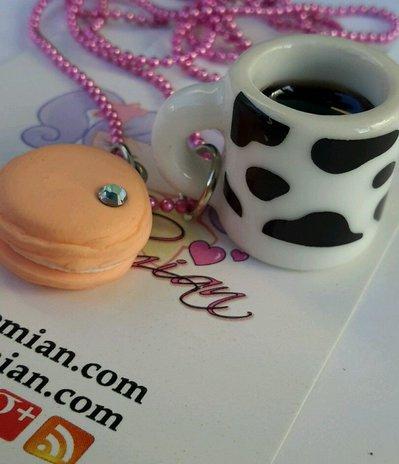 collana tazza mug mucca e Macaroon sweet kawaii gnam cute Alchemian