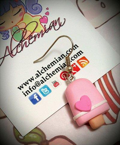 1 mono Orecchino Kawaii FIMO Alchemian gelato rosa fior di fragola kawaii lolita