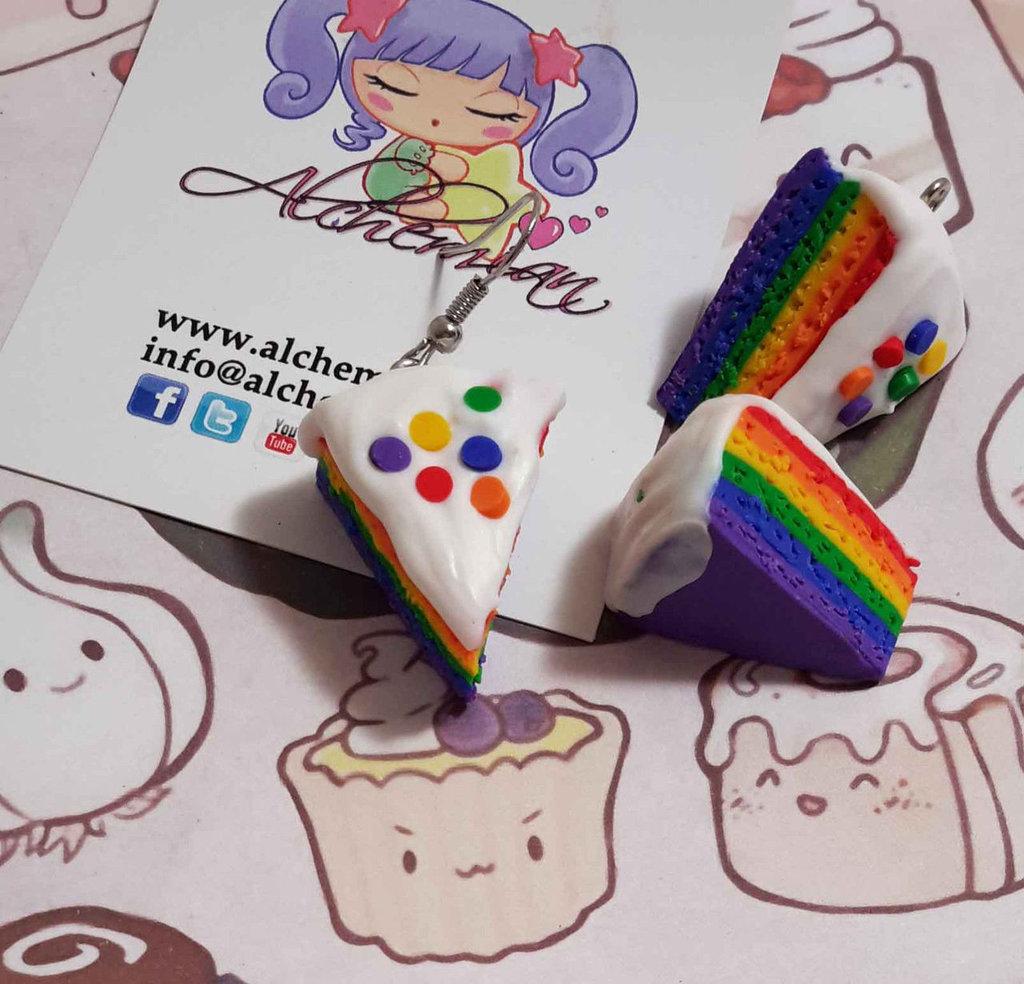Orecchino Kawaii FIMO Alchemian torta arcobaleno lolita cake sweet colazione