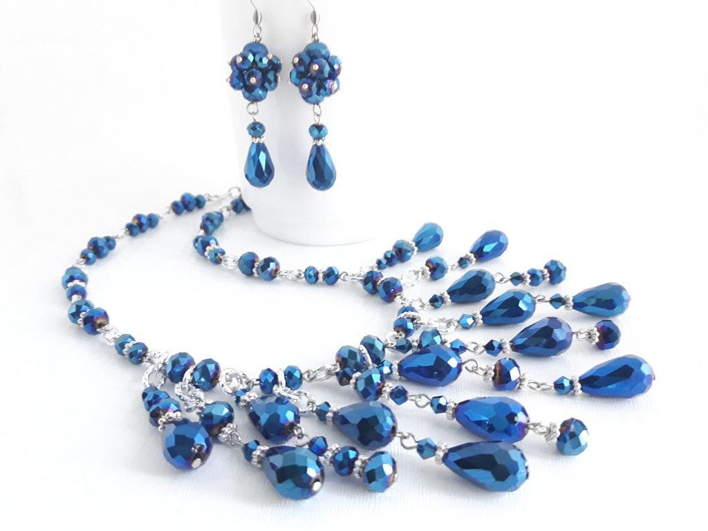 Parure Blu goccia di cristallo