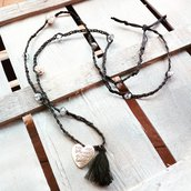 Collana lunga nero e argento