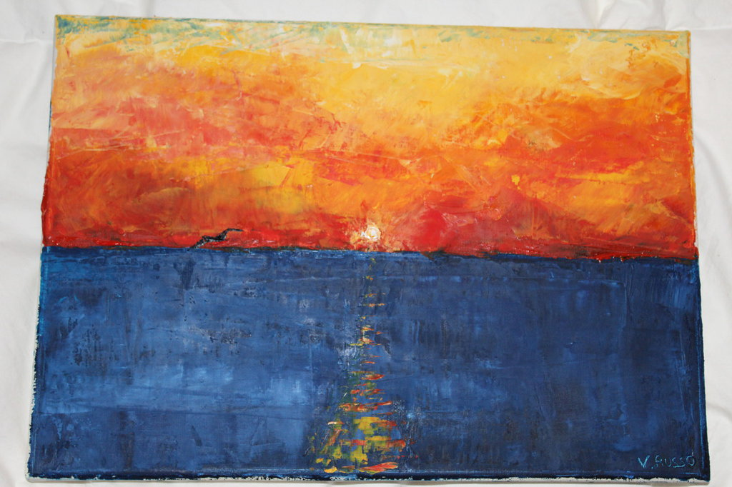 olio su tela dipinto a spatola tramonto sul mare