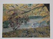 olio su tela dipinto a spatola paesaggio autunnale