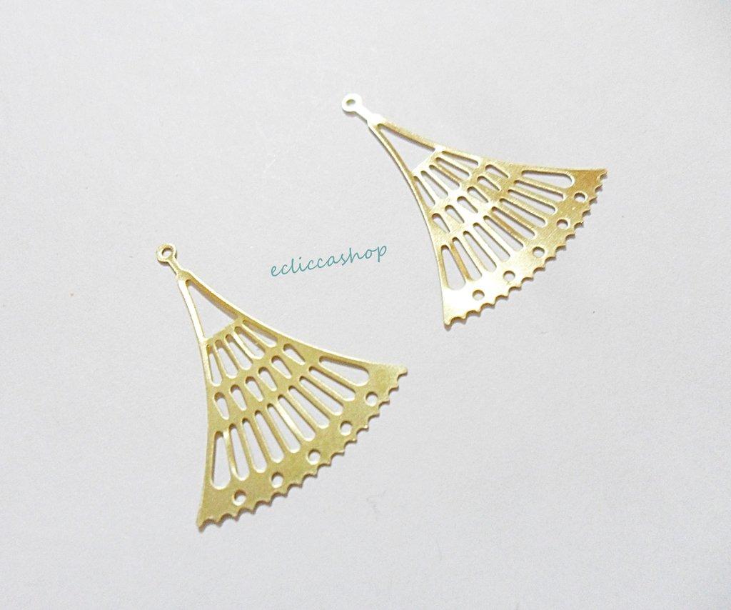 Componenti per orecchini a ventaglio in ottone 1coppia