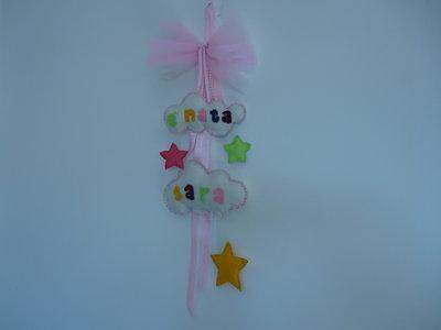 Fiocco nascita da bimba con nuvolette stelline e tulle rosa