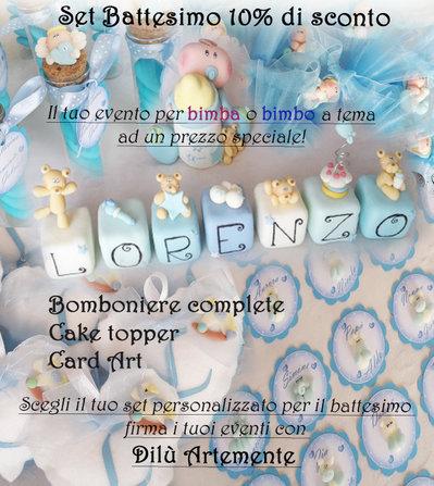 Promozione il mio evento!! 10% di sconto sul set Bomboniere Cake Topper Segnaposto per battesimo bimbo o bimba