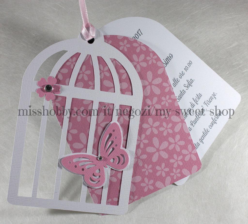 Estremamente Invito gabbia gabbietta con farfalla per Battesimo bimba - Feste  QU95