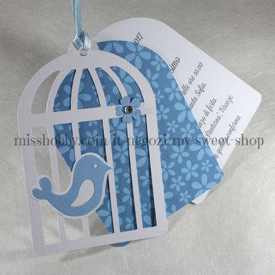 Invito gabbia gabbietta con uccellino per Battesimo bimbo