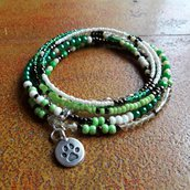 Bracciale Boho Verde, Bracciale Multigiro, Bracciale Lungo di perline