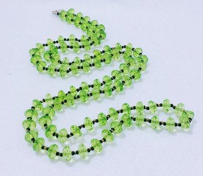 """Collana lunga in vetro veneziano e cristalli acrilici """"Verde Livenza"""""""