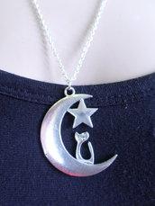 collana luna e gattino tono argento