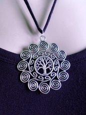collana albero e spirale della vita tono argento