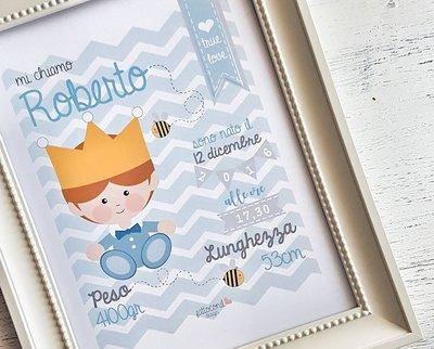 Quadretto Nascita digitale principino by fattoconilcuore : formato pdf PERSONALIZZABILE per  il tuo bebè