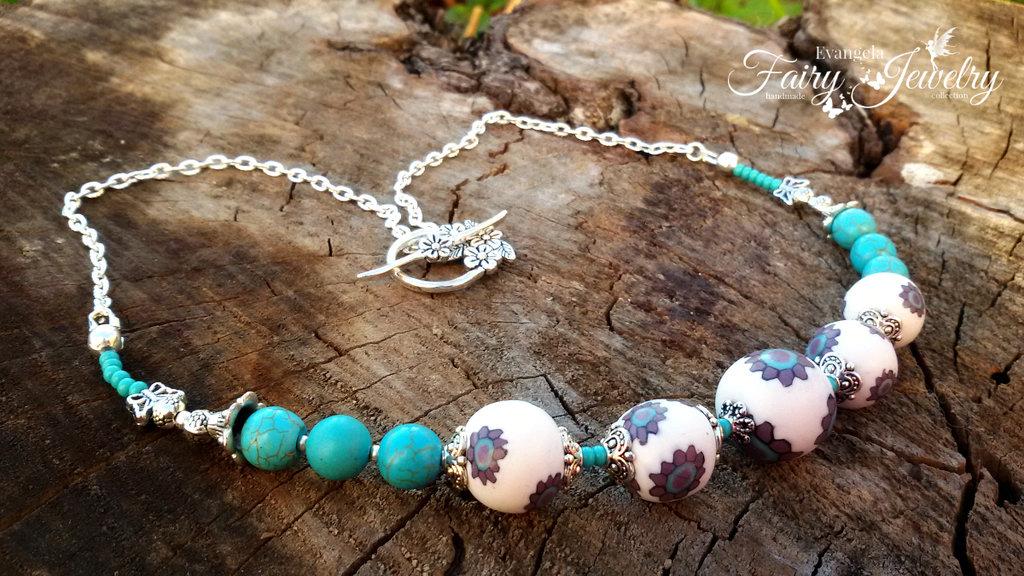Collana perle pasta polimerica e pasta di turchese modellata  a mano