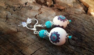 Orecchini perle bianco turchese viola fimo pasta polimerica pendenti argento 925