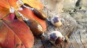 Orecchini pendenti perle fatte a mano con pasta polimerica e ovali pietra dura monachelle argento 925