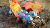 Orecchini pendenti perle fatte a mano con pasta polimerica lampwork monachelle argento 925