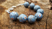 Bracciale perle modellate a mano in pasta polimerica fimo regolabile blu fiori